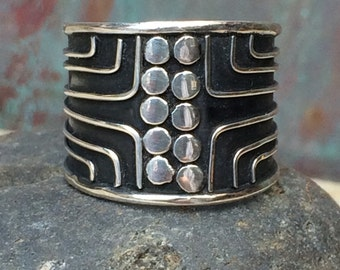 Sterling wide  band tribal ring size 7.5