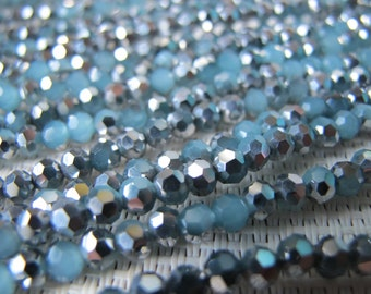 4mm Silver & Blue Quartz Faceted Round Beads S202