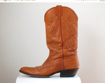 SALE 20% OFF- Burnt Orange Cowboy Boots/ Nocona Western Boots/ UT Longhorn Boots/ Men's Size 10 1/2 D