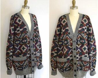 Missoni Oversized Tribal Cardigan/ Neiman Marcus Grandpa Sweater/ Designer Italian Knit/ Men's Size Large to XL
