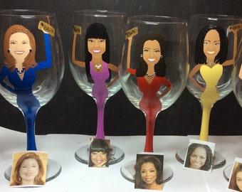 Cartoon Caricature Wine Glass