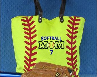 Personalized Softball Tote Bag - Softball Mom Bag - Softball Mom Tote - Softball Player Bag - Softball Gift - Softball Christmas Gift