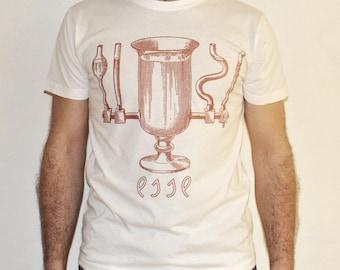 ESSE Vintage white hand printed Mens' T-shirt / 100% organic cotton / size M