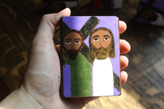 """2.5"""" X 3.5"""" Simon of Cyrene carries the Cross of Jesus Byzantine Folk style icon on wood by DL Sayles"""