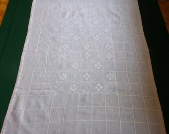 Vintage very light pink linen and cotton tablecloth with handmade embroidery Embroidered Table cloth