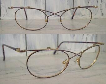 Vintage 90s red blue purple colorful patterns butterfly metal eyeglasses frames for women, retro eye elegant unique glasses eyewear gifts