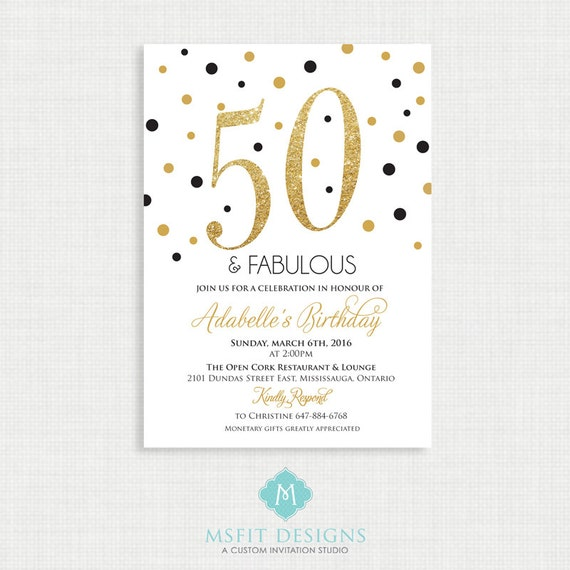 Printable Birthday Invitation- 50th birthday invitation- Party invite. Adult  Birthday. Elegant. Printable digital DIY
