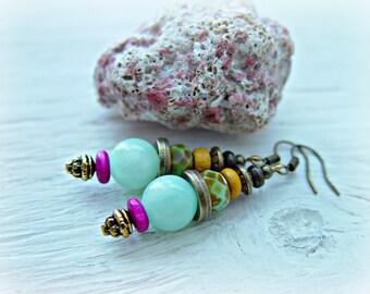 Hippie Earrings - Boho Earrings - Crystal Beads Earrings - Tribal Earrings - Ethnic Earrings - Yoga Earrings - Hippie Pink Earrings