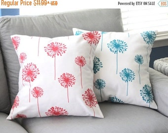 Pillow Cover, Pillow, Turquoise Pillow, Coral Pillow, Decorative Throw Pillow, Throw Pillow, Couch Pillow, Beach Decor, Dandelions, Cushion