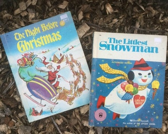 Vintage Christmas Children's Book The Night Before Christmas & The Littlest Snowman (Frosty the Snowman) Wonder Books 1978 ~ Vintage Quality