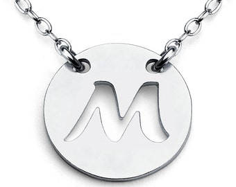 Openwork Initial Letter M Coin Charm Pendant Jump Ring Necklace #925 Sterling Silver #Azaggi N0427S_M