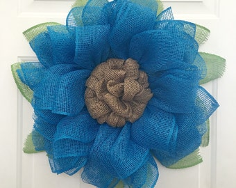 Burlap Sunflower Wreath, Sunflower Burlap Wreath, Front Door Wreath, Spring Wreath, Blue Sunflower, Handmade Wreath, Mother's Day Gift