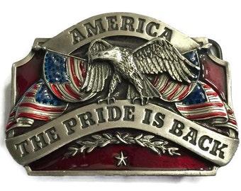1986 Siskiyou Pewter Belt Buckle, America The Pride is Back, Red & Blue Enamel