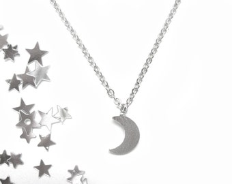 Tiny Moon Necklace Silver Moon Necklace Crescent Moon Necklace Half Moon Necklace Tiny Crescent Moon