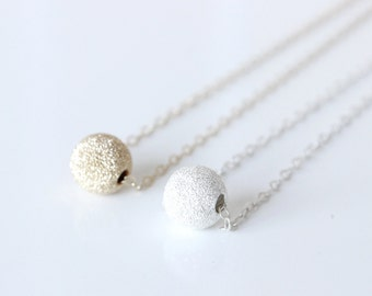 Single bead Necklace / Dusty Ball Necklace / Ball Necklace / Gold bead necklace / Silver bead necklace / Rose gold ball Necklace