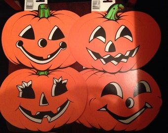 Beistle 4 Pc Lot Vintage Halloween NEW 1990 Pumpkin Jack O Lantern USA
