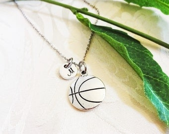 BASKETBALL NECKLACE in silver tone  - personalized with initial charm - choice of chains
