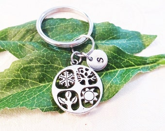 """4 SEASONS KEYCHAIN - keyring, zipper pull - with initial charm (fits 1-2 characters) Read """"item details"""" below and see all photos"""