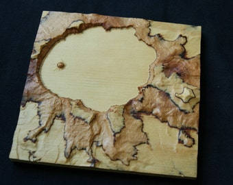 "Crater Lake 3D Map, 6"" plywood"