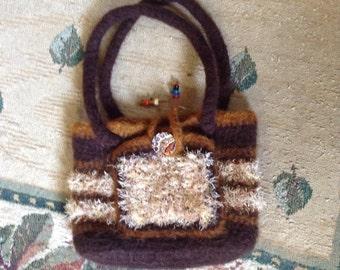 Brown felted Hobo Bag