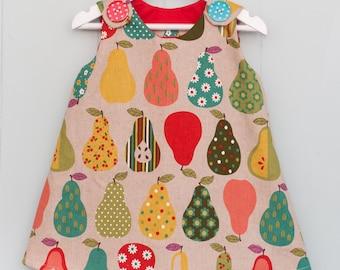 retro pears pinafore, girls pinafore, retro dress, pear