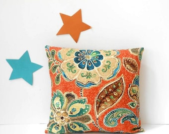 16x16 Pillow Cover, Iman Decorative Accent Throw Pillow, Sofa Cushion Cover, Pumpkin Orange with Brown, Green, Teal and Blue Flowers Sham