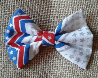 Patriotic red white and blue chevron and stars hairbow
