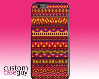 Hard Snap-On Case for Apple 5 5S SE 6 6S 7 Plus - CUSTOM Monogram - Any Colors - Purple Red Yellow Tribal Print