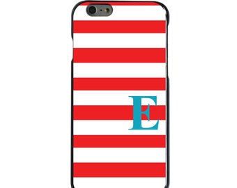 Hard Snap-On Case for Apple 5 5S SE 6 6S 7 Plus - CUSTOM Monogram - Any Colors - Red White Bold Stripes Teal