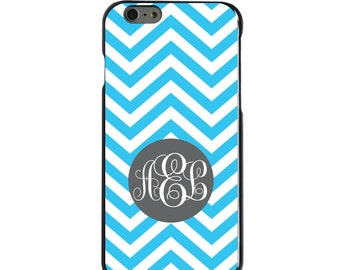 Hard Snap-On Case for Apple 5 5S SE 6 6S 7 Plus - CUSTOM Monogram - Any Colors - Blue White Grey Chevron Stripes