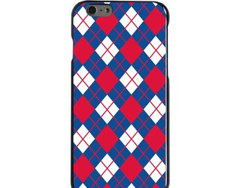 Hard Snap-On Case for Apple 5 5S SE 6 6S 7 Plus - CUSTOM Monogram - Any Colors - Mississippi Ole Miss Rebels Colors - Argyle Pattern