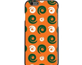 Hard Snap-On Case for Apple 5 5S SE 6 6S 7 Plus - CUSTOM Monogram - Any Colors -  Miami UM Hurricanes Colors - Swirls Pattern