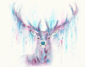 Stag acrylic A3 original painting