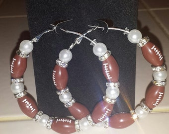 Bling Football Earrings