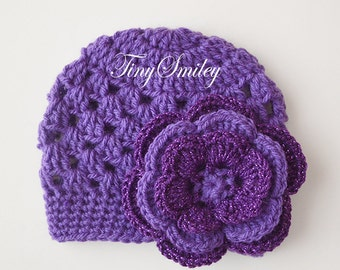 Purple Newborn Hat, Crochet Baby Girl Hat, Purple Baby Girl Hat, Infant Girl Hats, Cute Baby Hat, Crochet Newborn Hat, Crochet Girl Beanie