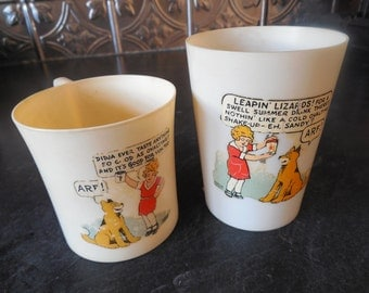 Little Orphan Annie and Sandy Cup Glass Set for Ovaltine...Promotional Mug Tumbler
