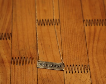 Handcrafted Sterling Silver 'AOTEAROA' Stamped Necklace