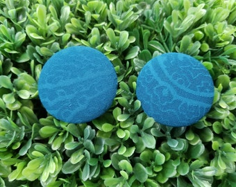 Teal Thrills- Handmade Fabric Button Earrings