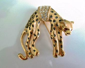 Hanging Panther Brooch. Cougar Brooch. Leopard Pin. Wild Cat. Figural Jewelry.