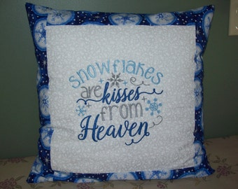 Snowflakes are Kisses From Heaven- Embroidered Pillow Cover.