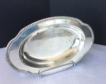 "Silver bowl, oval, Haddon Oneida, vintage, 12 1/2"" X 8 1/4"" X 2"""