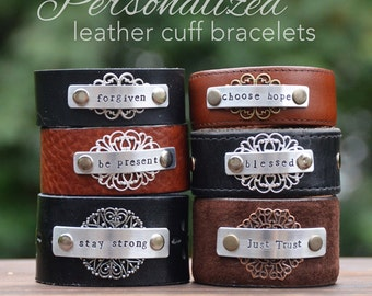 Personalized leather cuff bracelet, recycled leather belt, custom metal stamped cuff, Inspired leather cuff. Love Squared Designs, upcycled