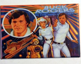 "BUCK ROGERS in the 25th centry Metal LUNCHBOX 2"" x 3"" Fridge Magnet Art Vintage Tv show"