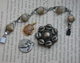 Lot 4pcs antique French jewelry solid bronze sport medal ornate leaf brooch gemstone bracelet gold cameo