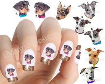 Nail Decals, Water Slide Nail Transfers, Nail Stickers, Dogs Photo Shoot - Pinscher, Greyhound or Whippet