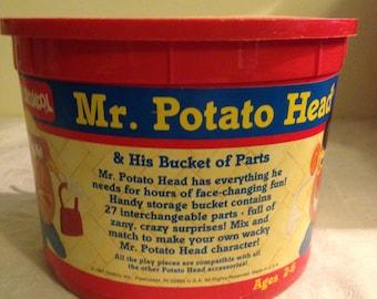 Vintage Mr. Potato Head and His Bucket of Parts