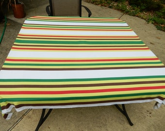 "62 x 52"" Red Green and Brown with Lime Stripe on White Tablecloth"