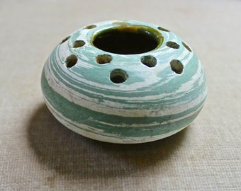 Vintage Silver Springs Florida Pottery Flower Frog, Art Pottery, Henry Graak Jr.