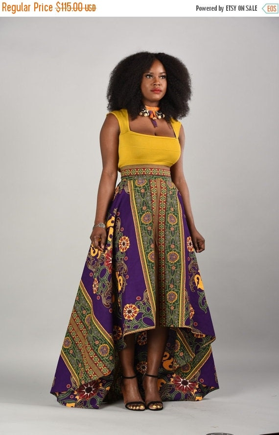 SPRING SALE Marble-African print High- Low Skirt.