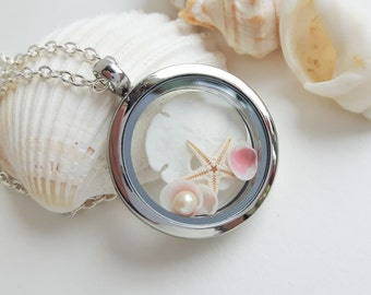 Seashell Necklace, Starfish Necklace, Beach Locket Jewelry, Gift for her, Ocean Necklace, Silver Locket, Beach Wedding, Beach Jewelry